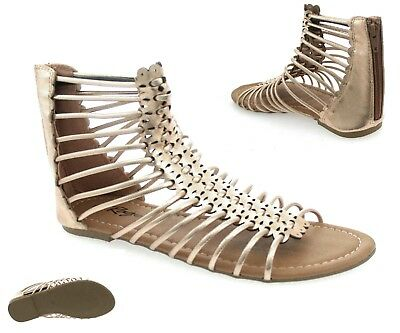 Ladies Womens Gladiator Sandals Strappy Flat Knee High Zip Up Boots Shoes Size • 9.95£