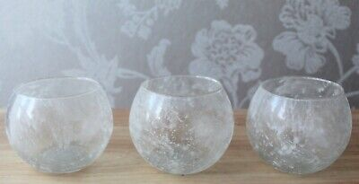 Set Of 3 Frosted White/Clear Glass Tea Light Holders, Round, Globe, Fish Bowl • 14.99£