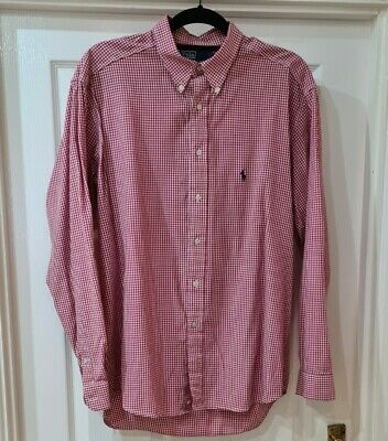 Ralph Lauren Men's Gingham Shirt Red & White 16 1/2 Collar • 3£