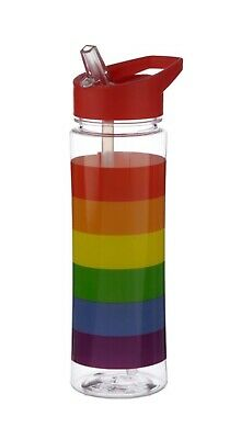 Reusable Rainbow 550ml BPA Free Plastic Water Bottle With Straw. New. • 6.90£