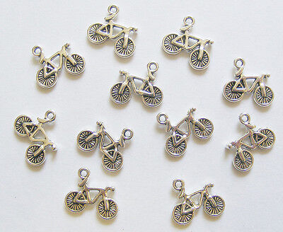 10 Bicycle Charms, Bike Charms, Pushbike Charms - 15mm - Antique Silver  • 1.95£