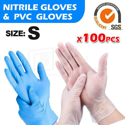 AU15.99 • Buy 100pcs Nitrile Disposable Gloves Clear Vinyl Powder & Latex Free Medical/ Food