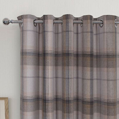 £110 • Buy Highland Grey Multi Tartan Checked Blackout Curtains With Ring Top Eyelet Header