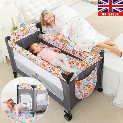 Baby Bedside Crib Portable Foldable Travel Cot Bed Mattress Mesh W/ Carry Bag UK • 82.71£