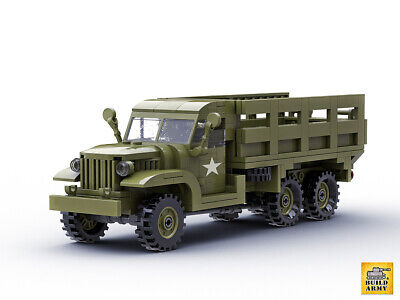 WW2 GMC CCKW Truck Brick Set + US Minifigures + Rifles | Fit Lego  • 41.50£