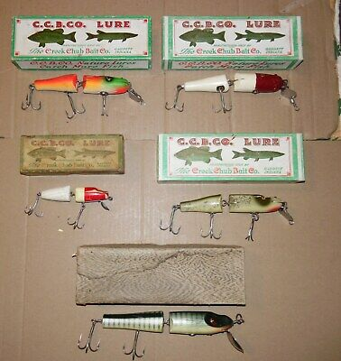 $ CDN102.08 • Buy 5 Pc. Lot Of Estate Sale Found Vintage Creek Chub Jointed Wood Lures With Boxes