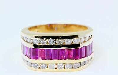 Diamond & Rubies In 11mm Thick Band Ring In 14K Yellow Gold • 870.08£