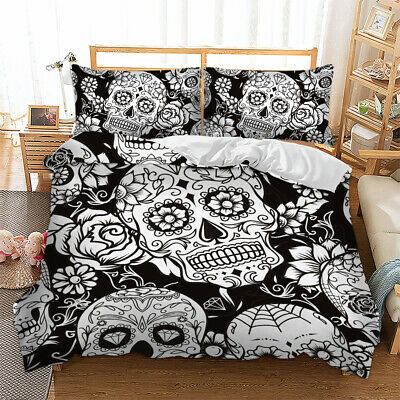 Sugar Skull Duvet Cover With Pillow Case Quilt Cover Bedding Set Single Size New • 0.99£