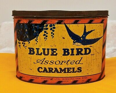 Vintage Tin-Advertising/Sweet/Confectionery-Large Blue Bird Assorted Caramels • 39.99£
