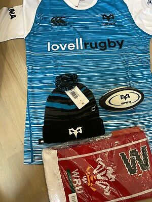 Ospreys 2018/19 Away Rugby Shirt Size Large +Bobble Hat+mini Ball +wales Scarf • 10£