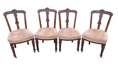 £280 • Buy Charming Matched Set Of 4x Antique Victorian Mahogany Upholstered Dining Chairs