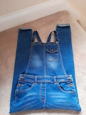 Girls Denim Dungarees Age 10 - 11 Years George Long Leg Dungarees FAB Condition • 2.50£