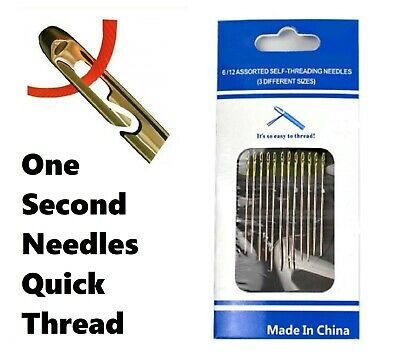 12Pcs Assorted Size Set SELF THREADING Hand Sewing NEEDLES Easy Thread • 2.14£