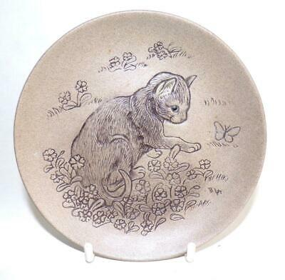 £4.99 • Buy Poole Pottery Cat Series Display Plate Featuring A Cat & Butterfly In Stoneware