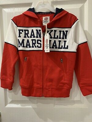 Franklin Marshall 5/6 Boys Red Zip Top. Kids Clothing Brand. 80% Cotton • 15£