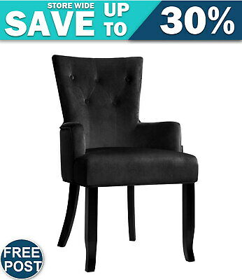 AU125.93 • Buy Artiss Dining Chairs French Provincial Chair Velvet Fabric Timber Retro Black