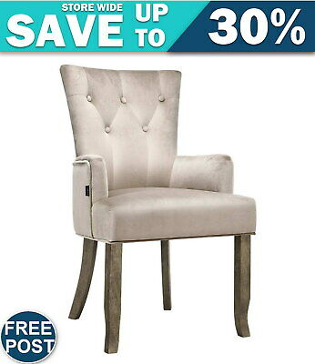 AU136.85 • Buy Artiss Dining Chairs French Provincial Chair Velvet Fabric Timber Retro Camel