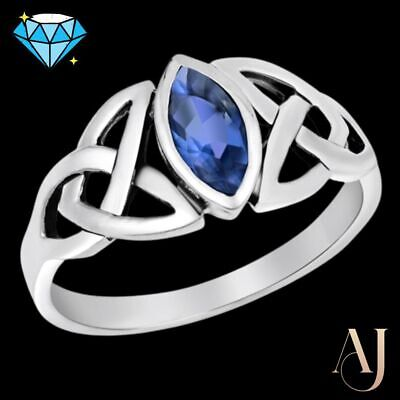 AU23.75 • Buy CELTIC MARQUISE SAPPHIRE CZ ~ Genuine 925 STERLING SILVER RING ~ Size 7 8 9 10