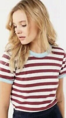 AU9 • Buy Urban Outfitters Truly Madly Deeply Striped White Maroon Tee Size Small