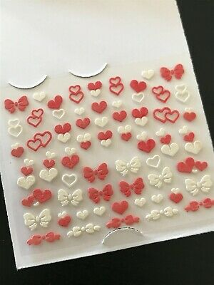 AU2.99 • Buy Valentines Day Nail Stickers 3D Decals Coral White Love Heart Bow Self-adhesive