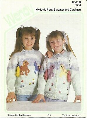 Knitting Pattern Girls My Little Pony Cardigan & Sweater 26-30 Inch Vintage DK  • 2.95£