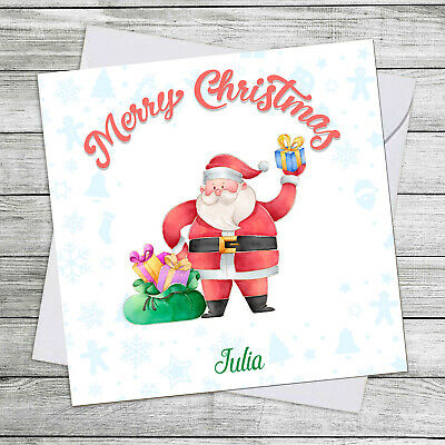 PERSONALISED CHRISTMAS Card For Grandaughter/son Friend Family Santa & Gift Sack • 2.49£