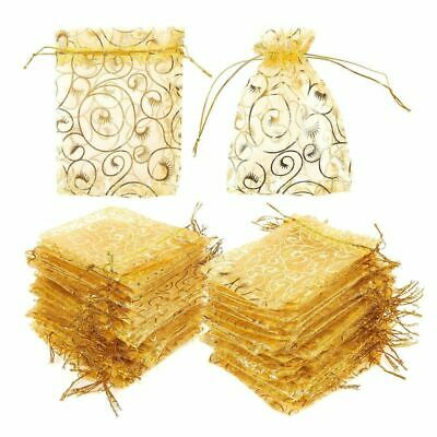 120 Gold Organza Wedding Party Favor Gift Bags Candy Sheer Bag Jewelry Pouches • 9.73£