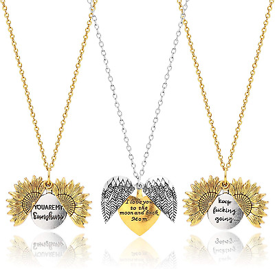 3 Pcs Set Engraved You Are My Sunshine Lettering Necklace Sunflower Feather Love • 10.41£