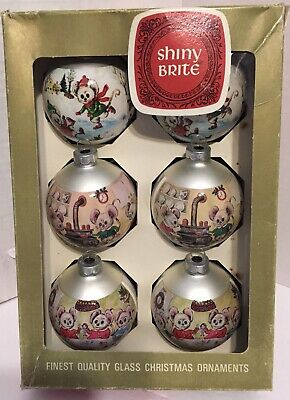 $ CDN21.08 • Buy Vintage Shiny Brite Glass Christmas Ornaments - Box Of 6 Holiday Christmas Mice