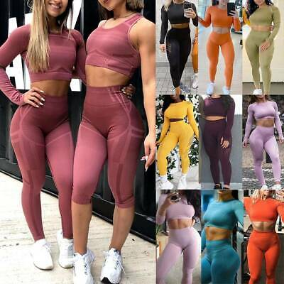 Women Seamless Yoga Set Sports Fitness Suits Gym Crop Top Workout Leggings Pants • 11.49£