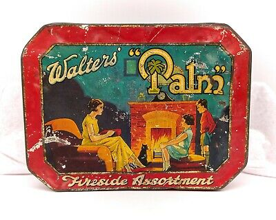 Vintage Tin-Advertising/Sweet-Large Walter's Palm Toffees-Fireside Assortment • 39.99£
