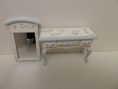 Dolls House Miniature 1:12 Scale Bedroom Blue & White Dressing Table With Mirror • 11.32£