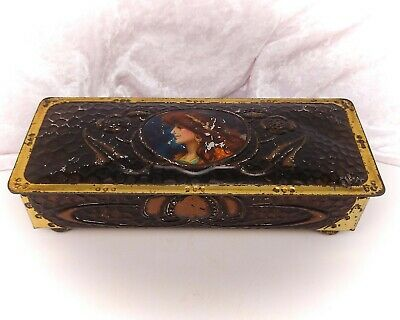 Vintage Tin-Advertising Confectionery/Sweet-Rowntrees-Chest/Casket Style-Lady • 14.99£