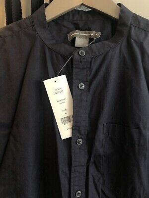 French Connection Men's Navy Grandad Collarless Shirt Large New • 5.70£