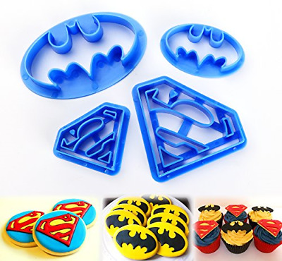 Ilauke Superhero Superman Batman Cookie Cutters Mould Set Of 4 Biscuit Pastry • 8.05£