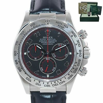 $ CDN24331.94 • Buy MINT Rolex Daytona 116519 Black Racing Dial 40mm Leather White Gold Watch Box