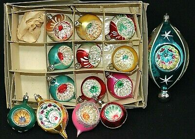 $ CDN62.11 • Buy VINTAGE Group Of 14 Glass Indent Ornaments POLAND, GERMANY, 1.75  - 6  VGUC
