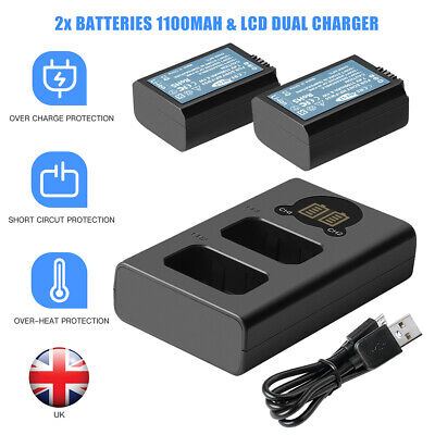 £22.90 • Buy 2x 1100mAh 7.4V Battery&LCD Charger For Sony NEX-F3 SLT-A33 A35 A37 A55V NP-FW50