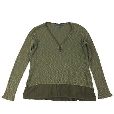 $ CDN24.97 • Buy Anthropologie Left Of Center Top Size SMALL Olive Green Waffle Long Sleeve S