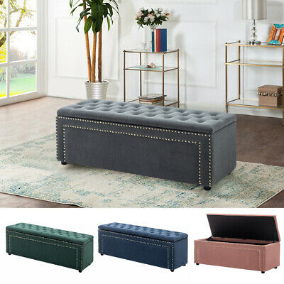 Large Chesterfield Storage Footstool Bedroom Window Seat Ottoman Box Bench Chair • 135.95£