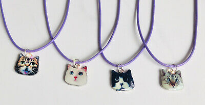 Cute Cat Pendant Necklace Cord Birthday Favours Set Of 4 Gift • 5.99£