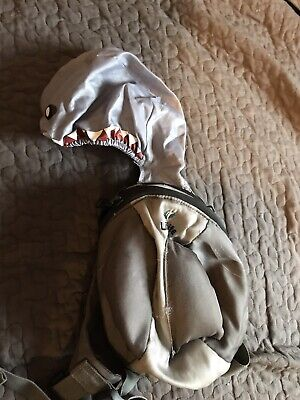 Little Life Toddler Shark Backpack Grey With Rain Hat & Reins - Good Condition • 0.99£