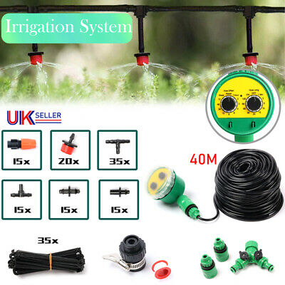 40M Automatic Drip Irrigation System Kit Plant +Timer Self Watering Garden Hose • 9.99£
