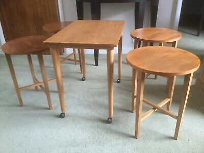 Vintage Mid C 60s Danish Nest Of 4 Folding Pull Out Tables +1 By Poul Hundevad • 60£