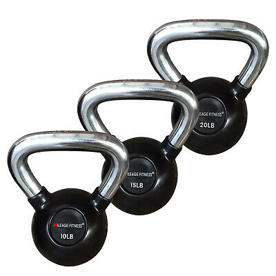 AU46.68 • Buy Commercial Grade Chrome Wide Handle Kettlebell Weights Rubber Coated Cast Iron