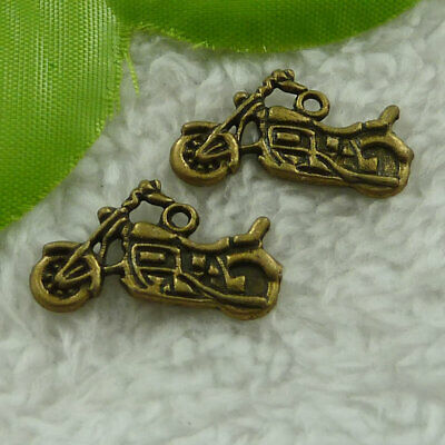 £12.19 • Buy Free Ship 180 Pcs Bronze Plated Motorcycle Charms 25x14mm B2569