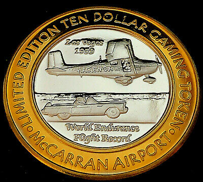 $24.38 • Buy .999 $10 Silver Strike • McCarran Airport • World Endurance Flight Record 1959