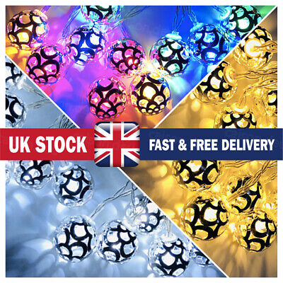 20LED String Lights Moroccan Orb Silver Ball Fairy Decoration Battery Powered UK • 7.99£