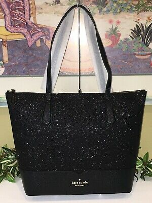 $ CDN142.68 • Buy Kate Spade New York Lola Glitter Tote Shoulder Bag Purse Black Sparkling $249