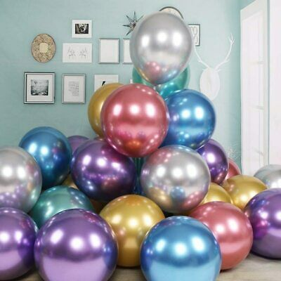 AU2.04 • Buy 5 Metallic Balloons Chrome Shiny Latex 5/12/18  Thicken For Wedding Party Baby